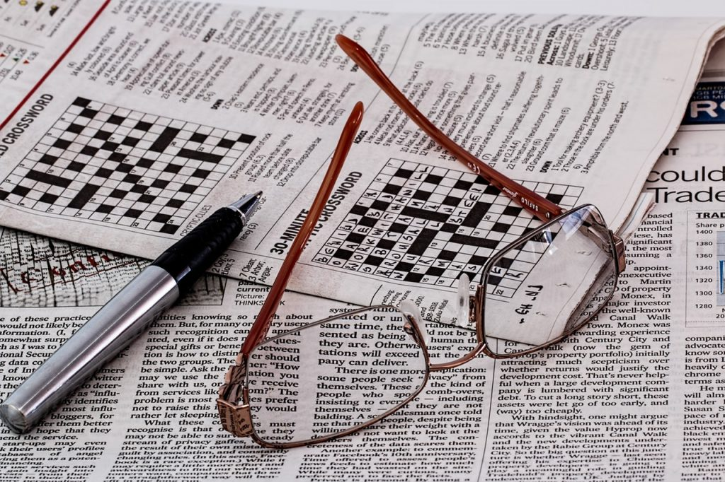 Crossword Puzzle and Newspaper-themed Placemats