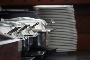 Plates and Chafing dished from a wedding catering service