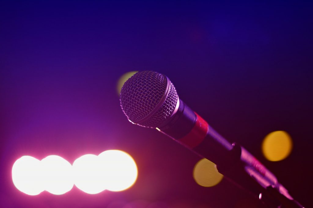 close up of a microphone on a stage