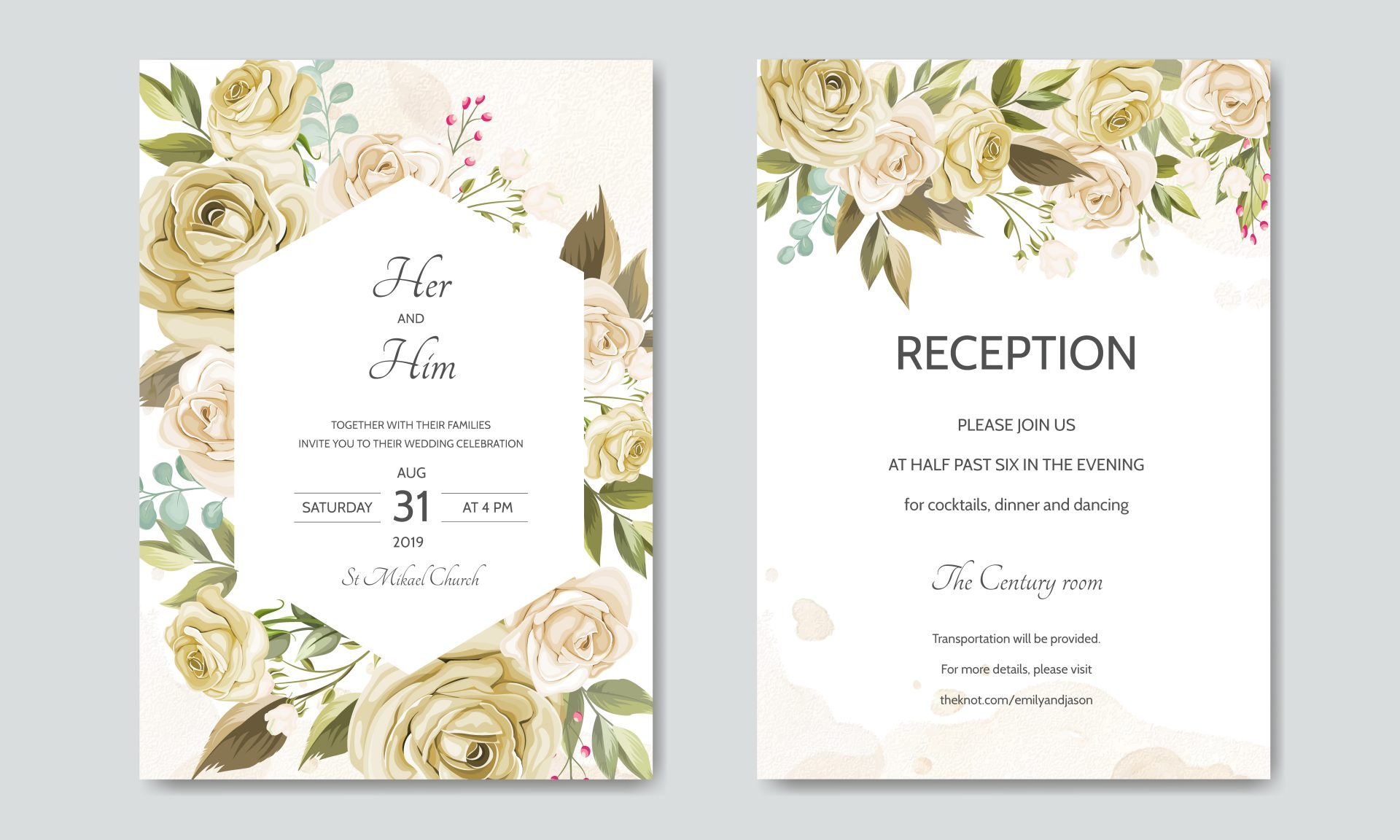 A sample of a wedding invitation