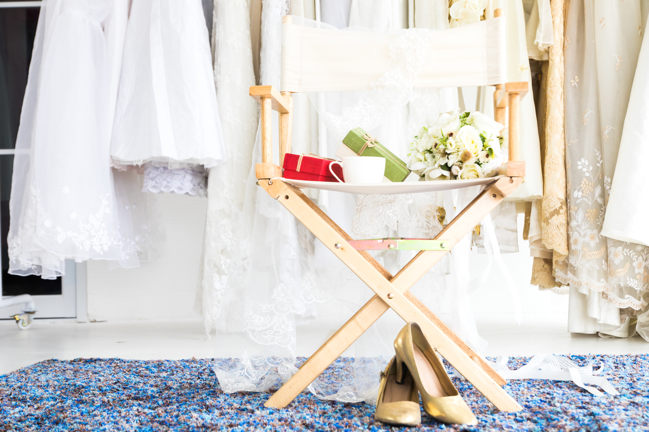 A chair with bridal items