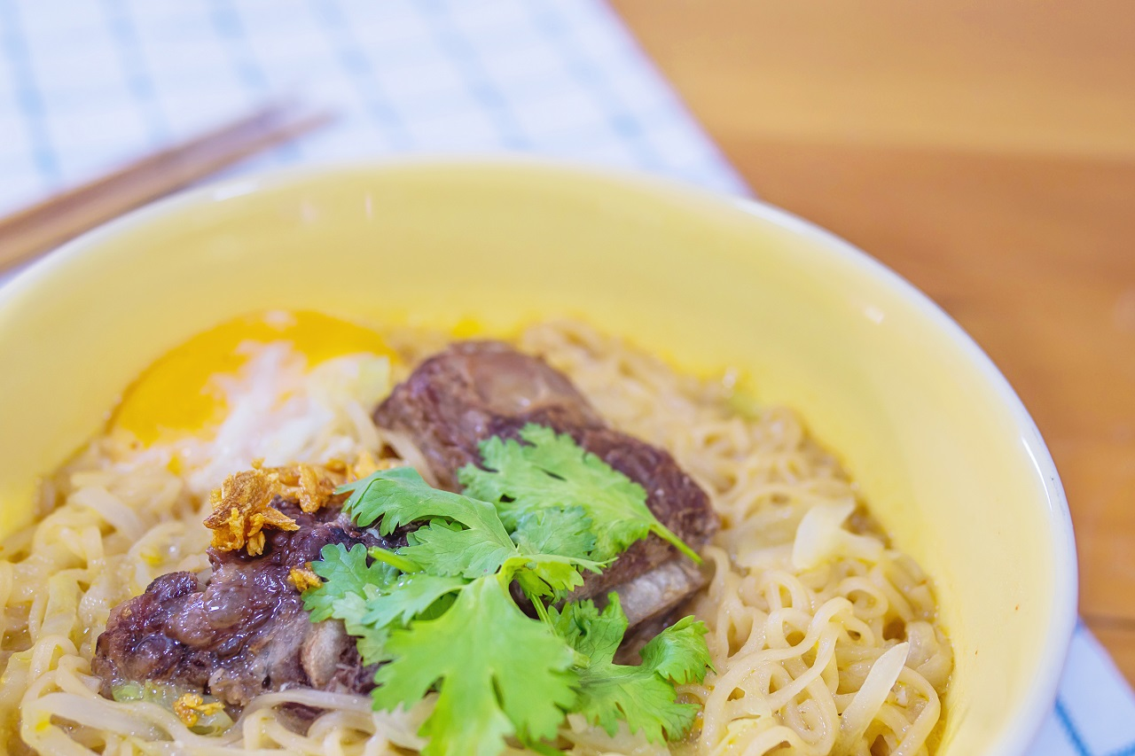 Close up of La Paz Batchoy Noodle Soup