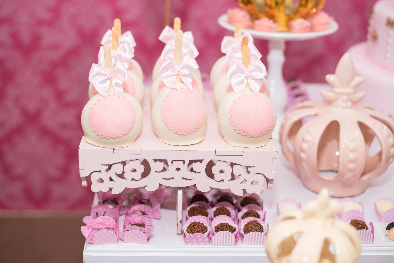 Close up of the buffet at a baby girl's baptismal party
