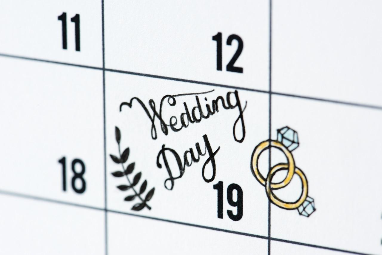 A calendar showing a couple's wedding day