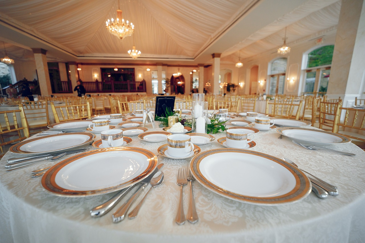 Close up of tables and chairs in a wedding reception