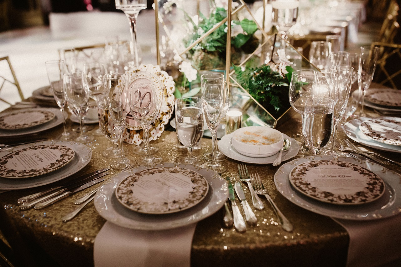 Close up of a round table at a wedding reception