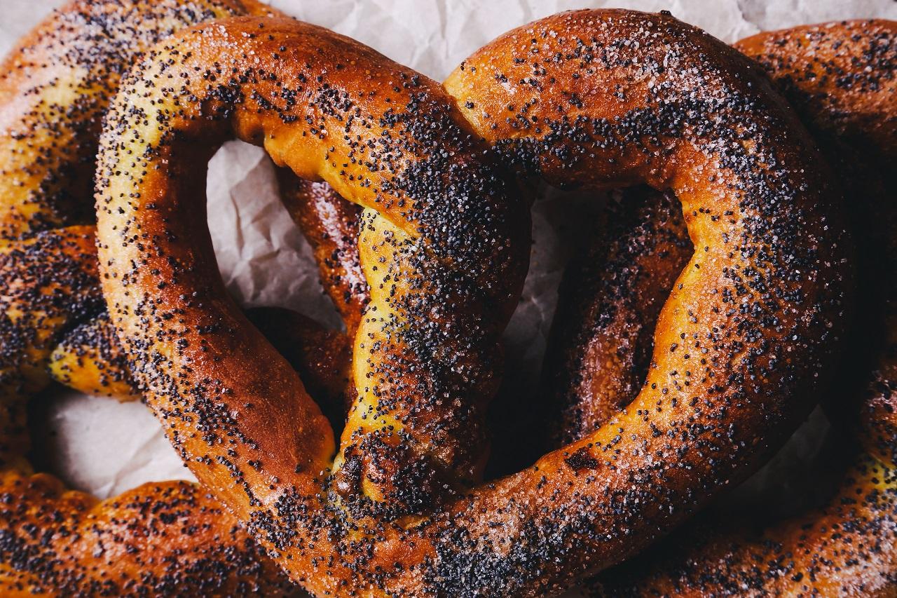 Food wall of pretzels