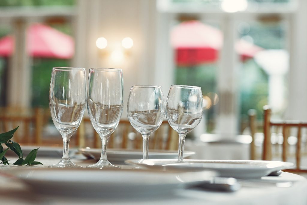 Glasses on a table for a small party