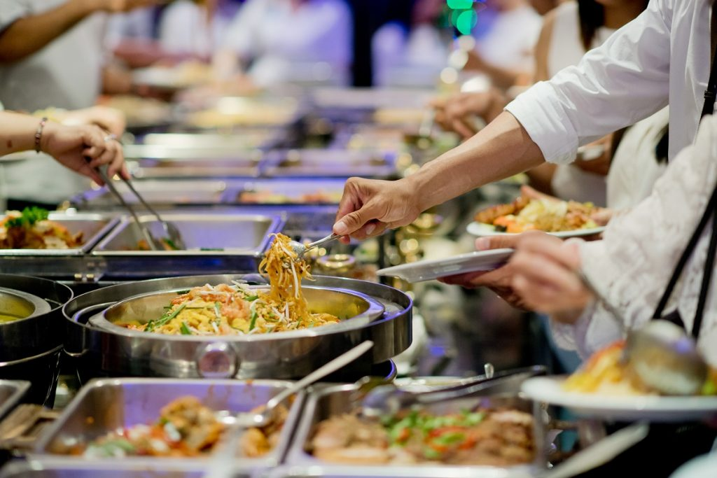 Serving catering food