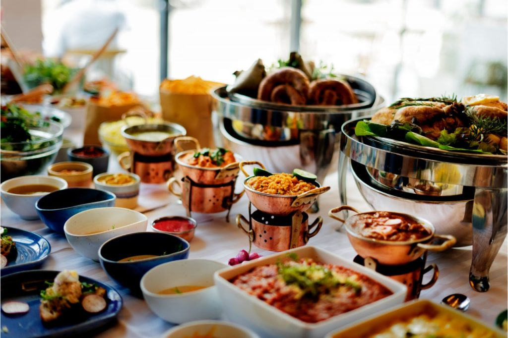 A catering buffet at a private party