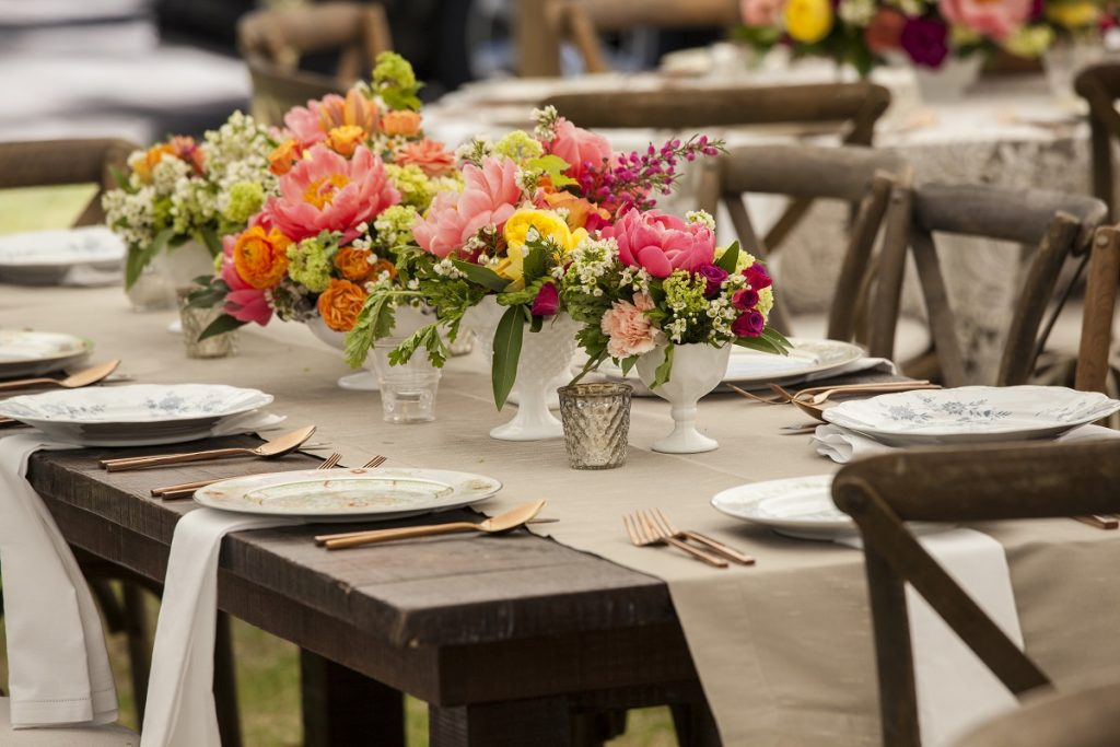 Antique place settings for wedding reception